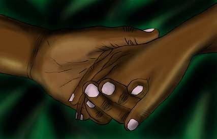 Simon drückt die Hand von Grace.